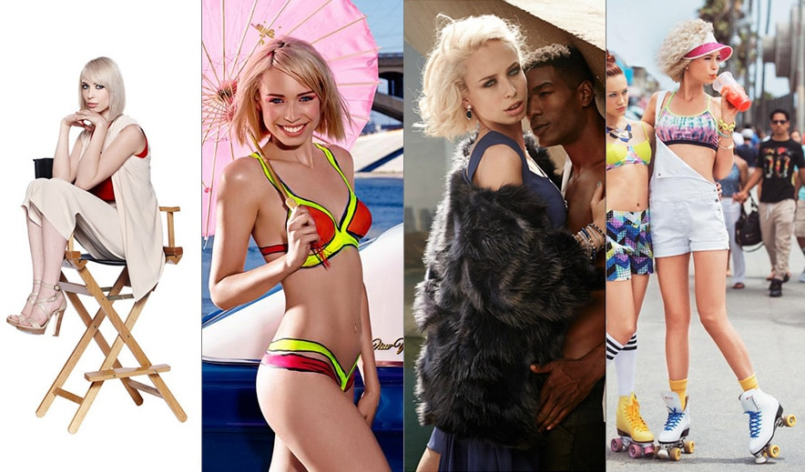 Lamers posing in the requisite zany 'Top Model' photo shoots, including body paint (second left) and roller skate shots (far right). Courtesy of Holland's Next Top Model